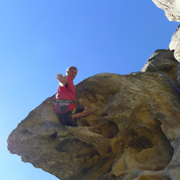 Mike Arechiga on, The Mullah. 5.10a.