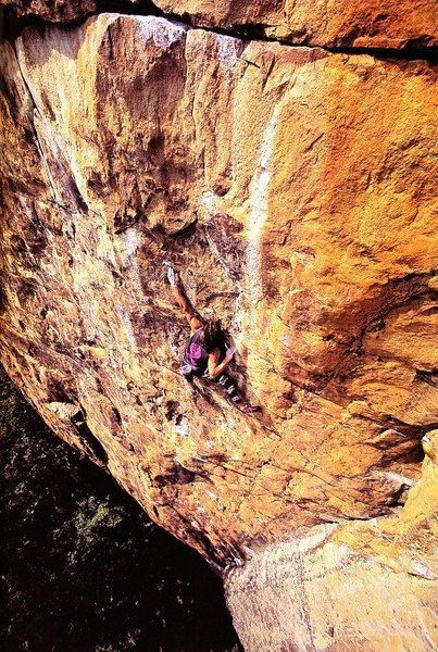 Dan Osman soloing Gun Club (5.12c), NRG<br> <br> Photo: Jay Smith (1991)