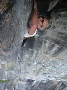 Rock Climbing Photo: Jake Evans below the Bone roof.