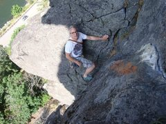 Rock Climbing Photo: Jake Evans above the overhangs on Catapult.