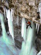Rock Climbing Photo: Matt Tuttle on Lancelot WI5 Mfun Pic by Andy Knigh...
