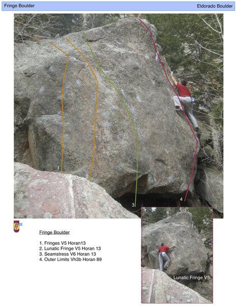 Rock Climbing Photo: Fringe Boulder topo.