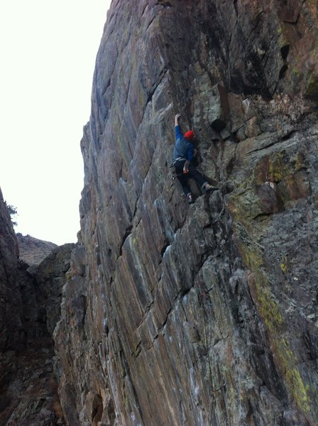 Tyler on the middle section of the route. Great climb! Solid warm-up for the area.
