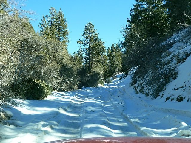 Winter road conditions, Holcomb Valley Pinnacles
