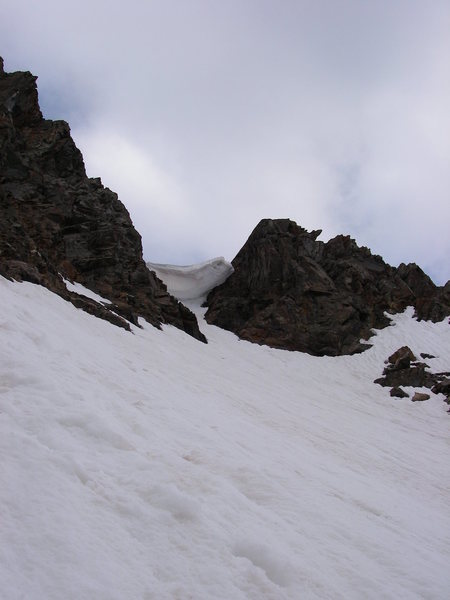 A good view of the unnerving cornice we climbed under for the first part of the climb. 6-28-2008.