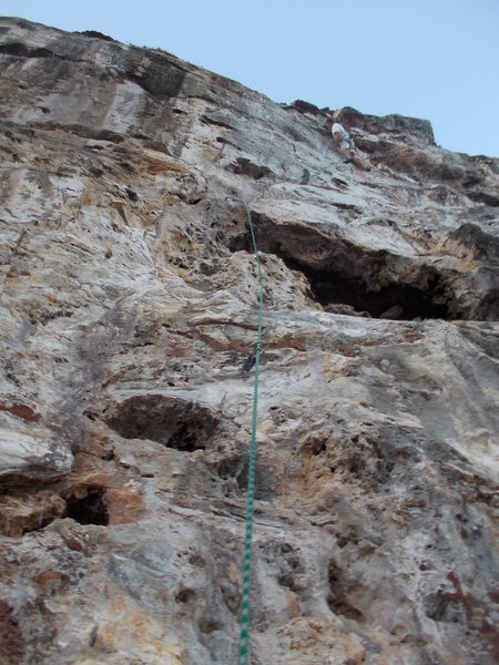 Rock Climbing Photo: Eric Berghorn clips the anchor on Fake Left, Move ...