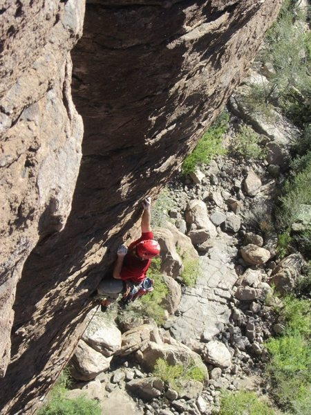 Smoking the Toad 5.8, Lower Devils Canyon, Superior, AZ