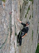 Rock Climbing Photo: Eric on the final Table Ledge traverse pitch to Ki...