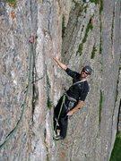 Rock Climbing Photo: Eric on the final Table Ledge traverse pitch to Ki...