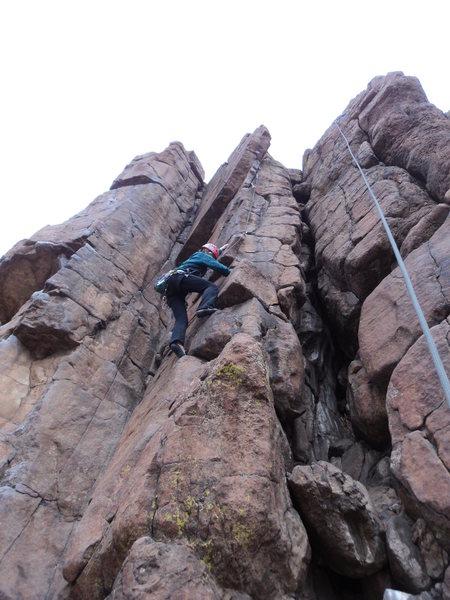 Rock Climbing Photo: Deb finds some big jugs.