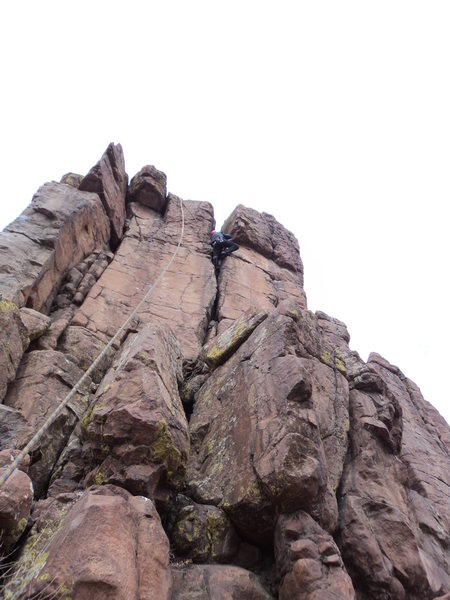 Rock Climbing Photo: Deb high up in the wide crack where it gets a tad ...