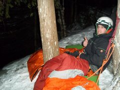 Rock Climbing Photo: C.D. settling in for the night near the top of Gre...