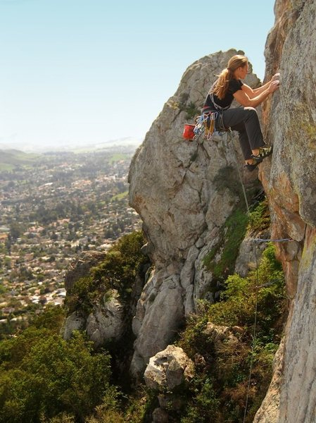 Rock Climbing Photo: brett hanging on to the jug above the roof. lookin...