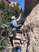 Rock Climbing Photo: Not exactly a spacious belay, but comfortable enou...