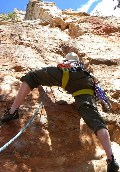 "Rock Climbing Photo: Clipping the first bolt on ""Le Petit Verdon&q..."