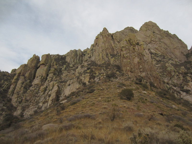 As seen from the saddle on the approach hike. The Gendarmes are on the left side. The Wedge is on the right.