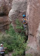 Rock Climbing Photo: Tristan about to clip the first bolt (a bit high a...
