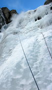 Rock Climbing Photo: Steep upper section of 2nd pitch (if you stretch y...