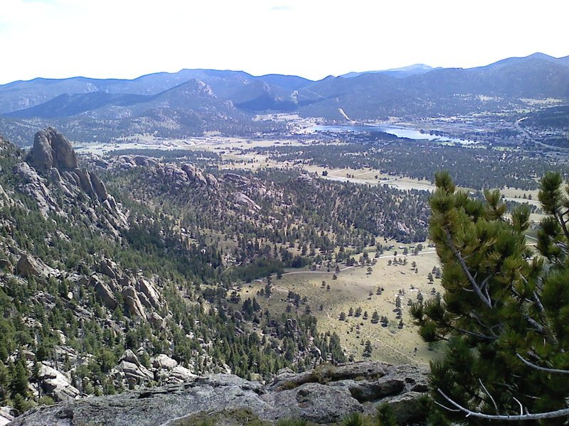 Twin Owls and Lake Estes from the top of Batman Rock