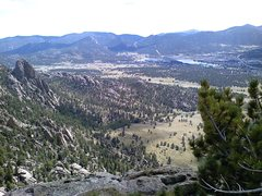 Rock Climbing Photo: Twin Owls and Lake Estes from the top of Batman Ro...