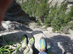 Rock Climbing Photo: Looking down from the first belay
