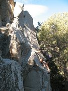 Rock Climbing Photo: Starting up Palm Pilot (5.10b), Onxy Summit Crag