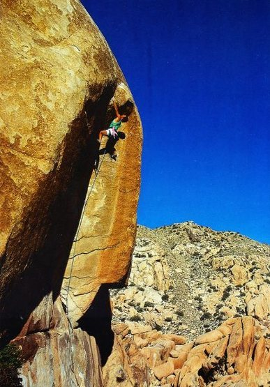 Randy Leavitt on the FA of Dihedralman (5.13a), Joshua Tree NP <br> <br> Photo by Brian Bailey (http://www.brianbaileyphotography.com/)