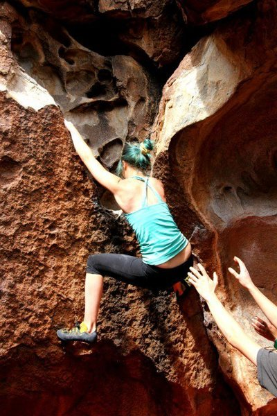 Rock Climbing Photo: Climbing a v1 at hueco tanks