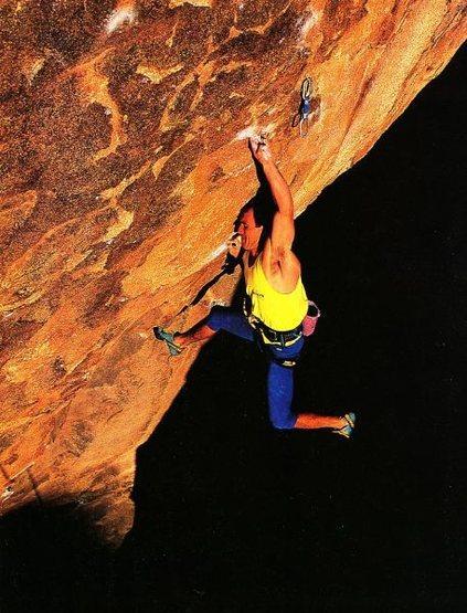 Rock Climbing Photo: Randy Leavitt on Mamba (5.13+ project), Joshua Tre...
