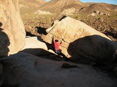 Rock Climbing Photo: Bouldering at the Stonehenge Boulders, Joshua Tree...