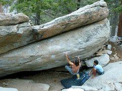 Rock Climbing Photo: James starting up Mangus (V5), Tramway