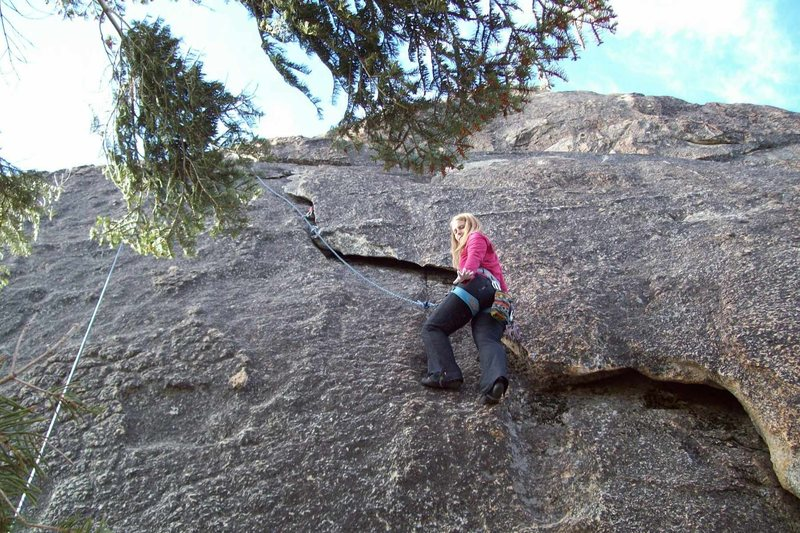 Rock Climbing Photo: Amy Wilkins on, Fire And Ice. 5.7