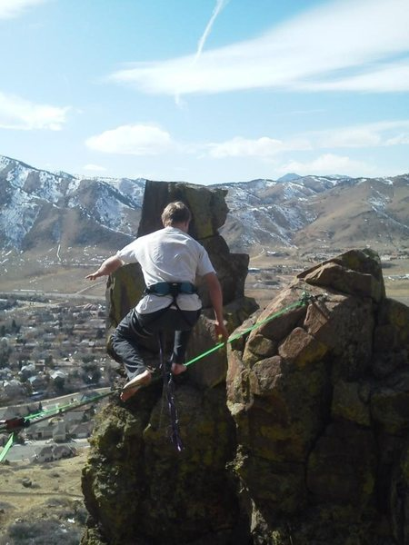 High lining at the spire in golden, co