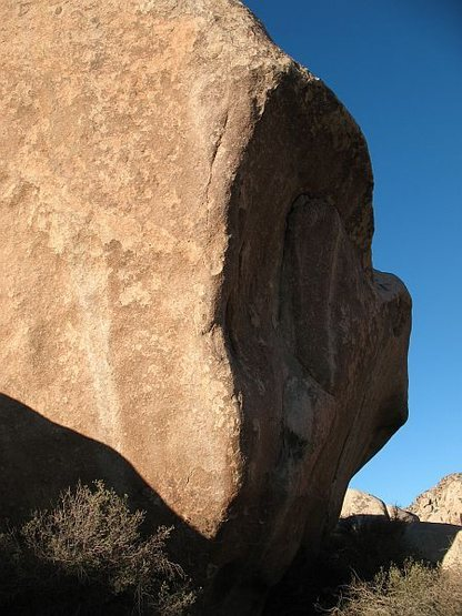 Closeup of the huge landmark boulder, Joshua Tree NP