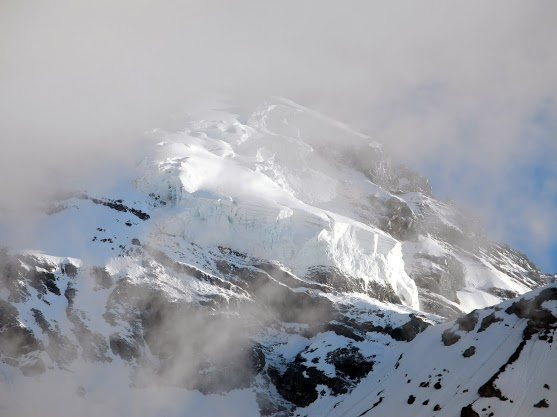 Rock Climbing Photo: The hanging ice cliff of doom from the Carbon. The...