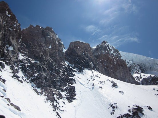 Climbing towards the exit gully(just left of center).