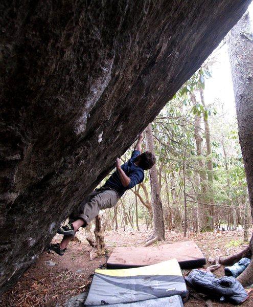 Rock Climbing Photo: Kent on Frites and Cassoulet (V9), Olympus Boulder