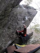 Rock Climbing Photo: Aubry for the FFA of Dark Horse (V7).