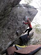 Rock Climbing Photo: Aubry for the FFA of Dark Horse (V7).