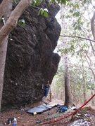 Rock Climbing Photo: Kent on Frites (V9) on Olympus Boulder