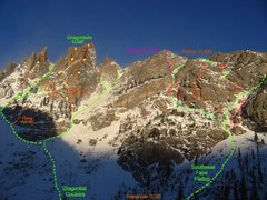 Rock Climbing Photo: Here is our line in purple.  A direct-start variat...