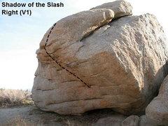 Rock Climbing Photo: Shadow of the Slash Right (V1), Joshua Tree NP