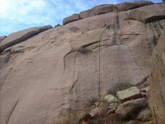 Rock Climbing Photo: From left to right:  Yellow = Snark Hunt, 5.9. Bla...