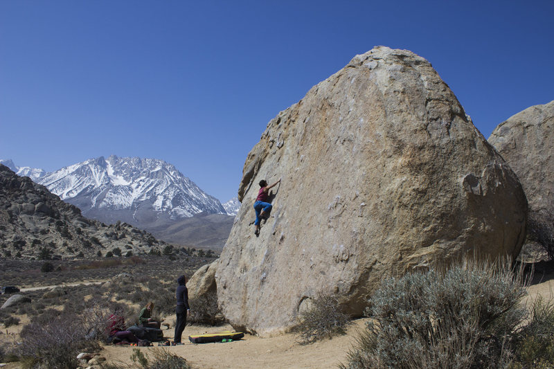 Me on an unnamed route on the Sunshine boulder.