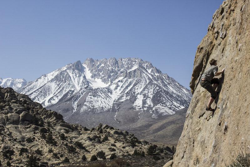 Rock Climbing Photo: Evan Martin high on the Sunshine Boulder