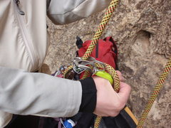 Rock Climbing Photo: Mega Jul belaying from the harness.