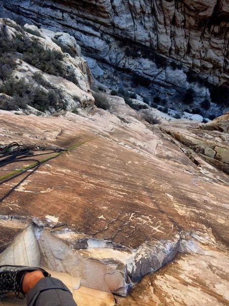 Rock Climbing Photo: Looking down P3.