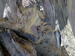 Rock Climbing Photo: Kent Schmitz on the first pitch of, O-Maggie. 5.12...