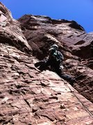 Rock Climbing Photo: Pitch two steps off the end of the chockstone, ove...
