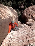 Rock Climbing Photo: Doug Foust nearing the end of pitch two in the sol...
